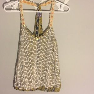 Free People crocheted sequin tank top